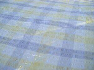 Vintage Grey Yellow White ROUND Seersucker 60'' Tablecloth