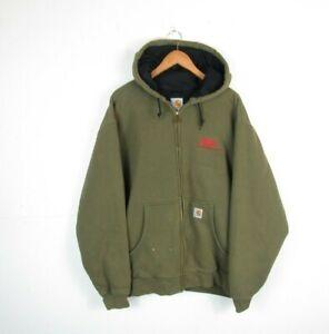 Mens CARHARTT Olive Green Full Zip Heavyduty Hoodie Workwear Jacket Lined Sz XL