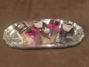 European Vintage 6 Cake Portions Candles With Silver Platter