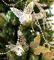 12Pcs Christmas Tree Decorations Xmas Butterfly Baubles Party Wedding Ornament