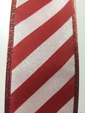 """Candy Cane Red White Stripe Peppermint Wire Edged Ribbon 2-1/2"""" x 5 Yards"""