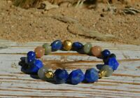 Blue Lapis Lazuli Labradorite & Sunstone High Quality Natural Gemstone Bracelet