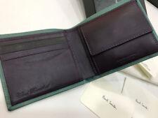 Portefeuilles porte-monnaies vertes en cuir pour homme