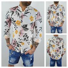 Camicia uomo di lino sartoriale casual Hawaiana floreale bianco S M L XL XXL