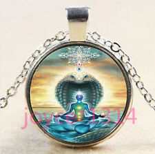 Yoga Chakra Glass Pendant Silver Chain Reiki Chakra Zen Healing Om Necklace#4435
