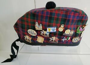 Glengarry Scotland MacDonald Tartan Army Hat Ingles Buchan 27 Badges Wool M 54CM