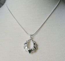"""18"""" Snake Chain with Heart Charm Pendant Sterling Silver Plated"""