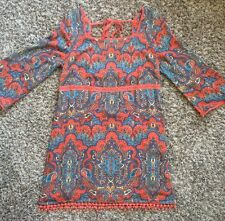 Free People Orange Blue Paisley Bell Sleeve Tunic Mini Dress 2 XSmall new $148