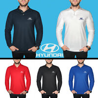 Hyundai Long Sleeve Polo T Shirt COTTON EMBROIDERED Auto Car Logo Mens Clothing