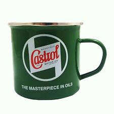 Genuine Classic Vintage Castrol Oil Enamel Tin Mug in Classic Green