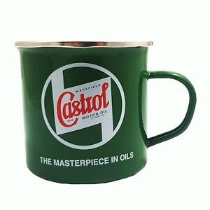 Genuine Classic Vintage Enamel Castrol Oil Tin Mug in Classic Green