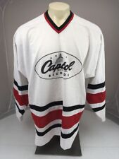 Vtg 80s Athletic II Silver Series Capital Records Hockey Jersey USA Made L/XL