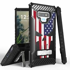 For Galaxy S10,9,8 Note 10,9 J3,J7 Tri Shield Armor Case US Flag Punisher Skull