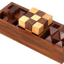 Wooden Puzzle 3 in 1 Games Set Interlocking Blocks Diagonal Burr & Snake Cube