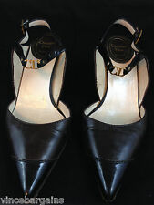 Christian Dior Souliers Brown Black Leather Heels Pumps Shoes Size 5.5 / 35 1/2