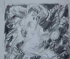 Dessin Gustave Guetant (1873-1953) Art déco Nu féminin érotique 1920 cachet 2