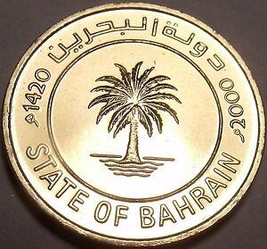 Gem Unc Bahrain AH-1420 Millenium Year 2000 10 Fils~Palm Tree