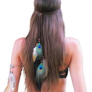 PROTUSTER Boho Feather Hippie Headbands Peacoak Headpieces Indian Hair Band Hair