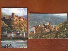 Vintage German Heidelberg Castle Postcards Set of 2 732 & 804 Landscape River