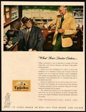 1943 UPJOHN Pharmacueticals - Doctor - Pharmacist - Taking A Shot VINTAGE AD