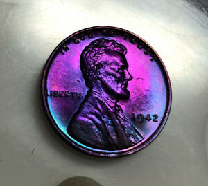 Lincoln Wheat Cent 1942 BU Monster rainbow TONED US Coin