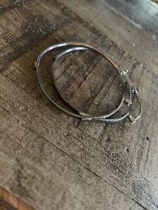 Sterling Silver Textured Hammered Hoop Artisan Handmade Earrings By Cathy Dailey