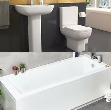 Options 600 Bathroom Suite Pack Inc Bath, Short Projection Toilet,  Basin