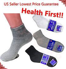3,6,12 Pairs Diabetic ANKLE QUARTER Circulatory Socks Health Cotton Mens Color