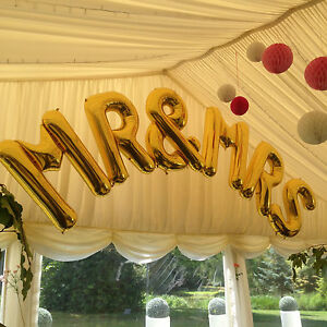"""Jumbo Gold 'Mr & Mrs' 34"""" Foil Large Letters Arch - Balloons"""