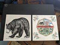 2 vintage Smoky Mountain Trivets: black bear