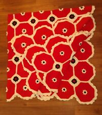 "Huge Afghan Flower Daisy Handmade Crochet Knit Blanket White Red Black 78"" × 87"""