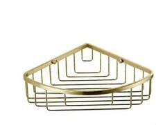 Wall Mounted Brushed Gold Triangle Bath Brass Shower Caddy Basket Storage Shelf