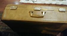Vintage Invicta Luggage Suitcase Camel/Brown Color Wheeled Gold Trim