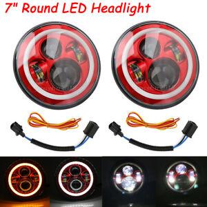 "7"" Round Headlight LED Yellow & White Halo Angle DRL For Jeep Wrangler JK TJ"