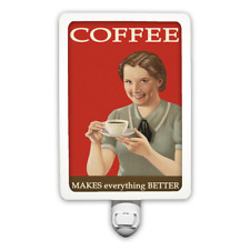 Funny Vintage Style Coffee Makes Everything Better Night Light