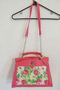 Rare!! Betsey Johnson Leather Pink Rose Floral Shoulder Bag Purse Be Mine XO