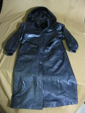 Nina Ricci Full Length Black Leather Coat with Faux Fur Collar in Size Small
