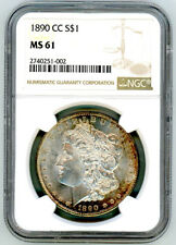 1890 CC US Morgan Silver Dollar $1 - NGC MS 61