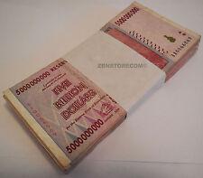 5 Billion Zimbabwe Dollars x 100 Bank Notes Bundle AA AB 2008 *After 500 Million