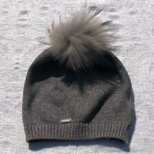 BARI LYNN***Gray Silver Knit Pom Fur Hat