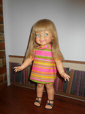 Vintage Ideal Giggles Doll w/ Extra Long Hair in Rare Outfit Repetitive giggles!