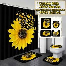 Sunflower Butterfly Shower Curtain Rugs Bath Mat Toilet Cover Rug Bathroom Sets