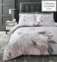 Catherine Lansfield Dramatic Floral Easy Care Duvet Cover Bedding Set Blush