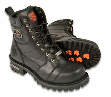 """Mens Black Leather Classic Logger Style Biker Boots, 8"""" Tall"""