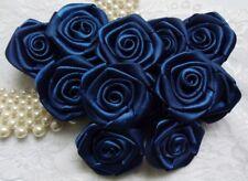 "1.5"" Navy Blue Satin Ribbon Roses Flower Diy- 24 Pcs (R0019D)"