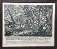 KUPFERSTICH JOHANN ELIAS RIDINGER (1698-1767) JÄGER FANGEN WOLF - JAGD WALD