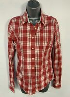 WOMENS JACK WILLS SIZE UK 8 RED&WHITE CHECK LONG SLEEVE CASUAL SHIRT BLOUSE TOP