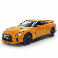 1:36 Nissan GTR R35 Model Car Diecast Toy Vehicle Pull Back Doors Open Orange