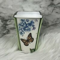 Lenox Butterfly Meadow Blue Thermal Travel Ceramic Coffee Tea Mug & Silicone Lid