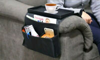 Sofa Chair Arm Rest Organiser Couch Remote Control Storage Tray Holder 6 Pocket